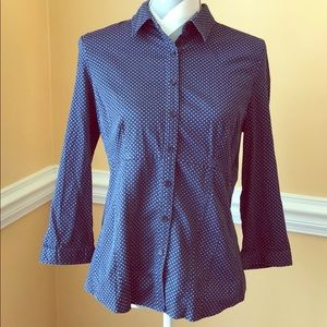 🍂NY&Co🍂 Blue Button-Down Long Sleeve Top